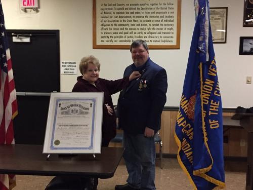 Camp Commander Jim Floyd, 2017 & 2018. Commander badge pinning by his wife, Linda Floyd, ASUVCW.