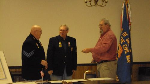 2015 & 2016 Camp Officer Installation (L to R) Mike Beck, incoming Commander - Bruce Kolb, PDC, installing officer - John Bowyer, outgoing Camp Commander.