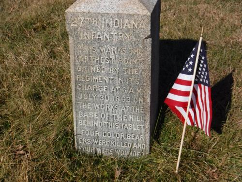 27th Indiana Volunteer Infantry Farthest Point Gained Marker