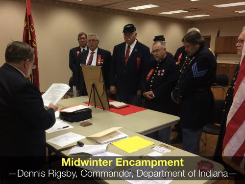 (L to RI) Don Shaw, Junior Vice-Commander in Chief installs the Department of Indiana Officers.
